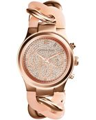 Michael Kors Women'S Chronograph Runway Twist Blush And Rose Gold-Tone Stainless Steel Bracelet Watch 34Mm Mk4283 - Lyst