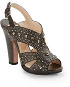 Prada Studded Leather Sandals - Lyst
