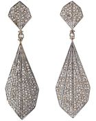 Bavna Sterling Silver Champagne Rose Cut Diamond Feather Earring - Lyst