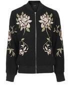 Topshop Floral Embroidered Bomber Jacket - Lyst