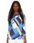 Lauren by Ralph Lauren Geometric Boatneck Top - Lyst