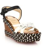 Christian Louboutin Lagoa Rope-Trimmed Leather Wedge Sandals - Lyst