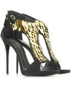 Giuseppe Zanotti Black Suede Embellished Sandal - Lyst