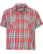 Topshop Short Sleeve Multi Check Shirt - Lyst