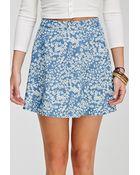 Forever 21 Ditsy Floral Denim Skirt - Lyst