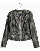 Mango Zip Leather Jacket - Lyst