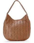 Sondra Roberts Taupe Knotted Woven Hobo - Lyst
