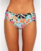 Seafolly Kimono Rose Ruched Panel Retro Bikini Bottoms - Lyst