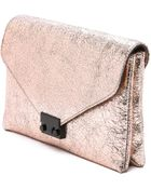 Loeffler Randall Metallic Lock Clutch - Rose Gold - Lyst
