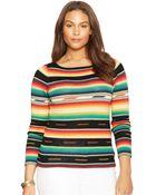 Lauren by Ralph Lauren Plus Size Striped Sweater - Lyst