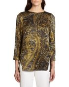 Lafayette 148 New York Paisley-Print Silk Satin Blouse - Lyst