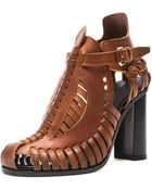 Proenza Schouler Woven Leather 100mm Chunky Heel Sandals - Lyst