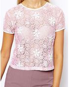 Asos Pretty Lace T-Shirt With Embellishment - Lyst