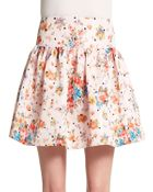RED Valentino Floral & Dot Print Skirt - Lyst