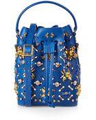 Sophie Hulme Stone-Embellished Leather Bucket Bag - Lyst