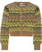 M Missoni Metallic Crochet-Knit Cardigan - Lyst