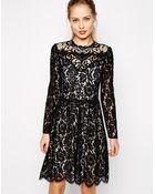 Oasis Crochet Lace Skater Dress - Lyst