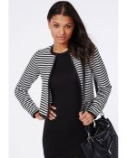 Missguided Monochrome Stripe Cropped Blazer White - Lyst
