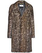 Saint Laurent Leopard-Print Marmot Fur Coat - Lyst