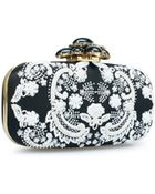 Oscar de la Renta Black & White Embroidered Satin Cabochon Goa - Lyst
