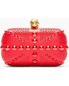 Alexander McQueen Red Studded Skull Britania Box Clutch - Lyst