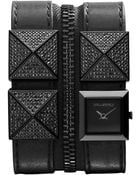 Karl Lagerfeld Women'S Black Ion-Plated Stainless Steel Stud And Black Leather Double Strap Watch 18Mm Kl2002 - Lyst