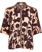 River Island Orange Floral Print Boxy Shirt - Lyst