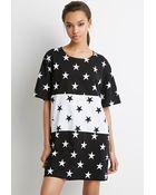 Forever 21 Star Print T-Shirt Dress - Lyst