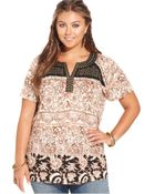 Lucky Brand Jeans Lucky Brand Plus Size Short-Sleeve Printed Studded Top - Lyst