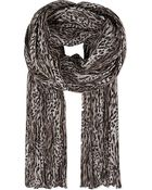 Saint Laurent Leopard Print Pleated Scarf - Lyst