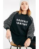 Lazy Oaf Oversized Sweatshirt With Graphic Content Print & Contrast Sleeves - Lyst