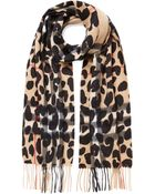 Burberry Leopard Print Cashmere Scarf - Lyst