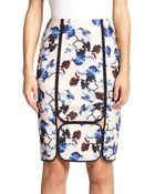 Yigal Azrouël Framed Orchid-Print Pencil Skirt - Lyst