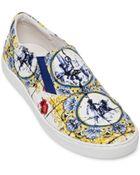 Dolce & Gabbana Matador Printed Canvas Slip-On Sneakers - Lyst
