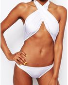Asos Cross Front Wrap Halter Swimsuit - Lyst