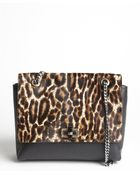 Lanvin Black Leopard Printed Pony Hair And Leather Medium 'Happy' Shoulder Bag - Lyst