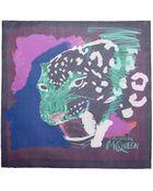 Alexander McQueen Painted Leopard Print Silk Chiffon Scarf - Lyst