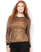 Lauren by Ralph Lauren Lauren Jeans Co Plus Size Faux-suede-trim Leopard-print Top - Lyst