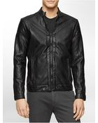 Calvin Klein White Label Classic Fit Faux Leather Moto Jacket - Lyst