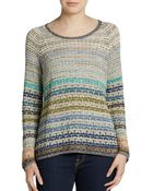 Nic + Zoe Mixed Blues Knit Pullover Top - Lyst