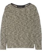 Yigal Azrouel Leather-Trimmed Cotton-Blend Sweater - Lyst