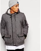 Asos Quilted Jacket With Fleece Lined Hood - Lyst