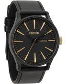 Nixon Sentry Leather Matt Black And Golden Watch - Lyst