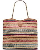 Tory Burch Marion Woven Slouchy Tote - Lyst