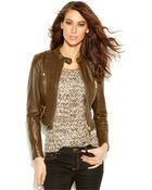 Michael Kors Michael Petite Cropped Leather Moto Jacket - Lyst