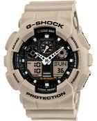 G-shock Men'S Analog-Digital Beige Resin Strap Watch 51X55Mm Ga100Sd-8A - Lyst