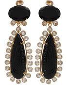 Bounkit Carved Crystal Drop Clip Earrings - Lyst