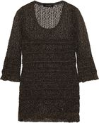 Isabel Marant Smocked Metallic Open-Knit Top - Lyst