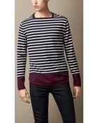 Burberry Contrast Stripe Cotton Top - Lyst