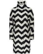 Karen Millen Oversized Zigzag Coat - Lyst